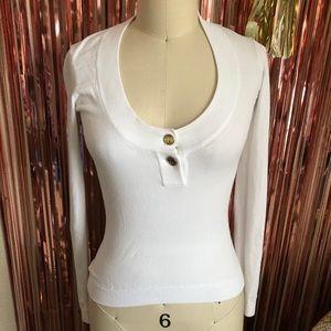 Dolce & Gabbana White Gold Button Sweater